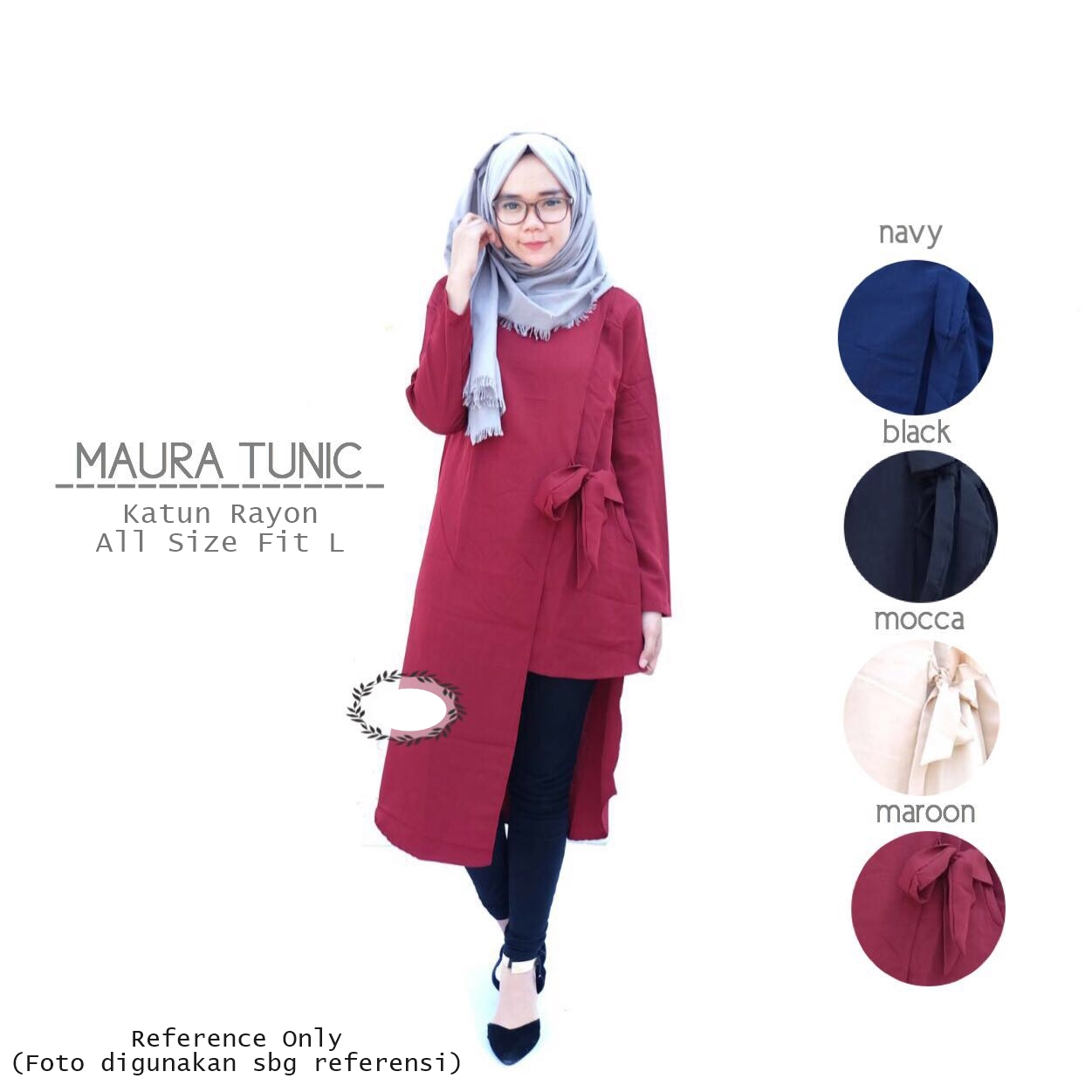 Baju Atasan Muslim Blouse Tunic Kemeja Long Shirt Tunik Best Red Sj0015 Jual Maura Top Blus Kaos Murah Sheloveshopp