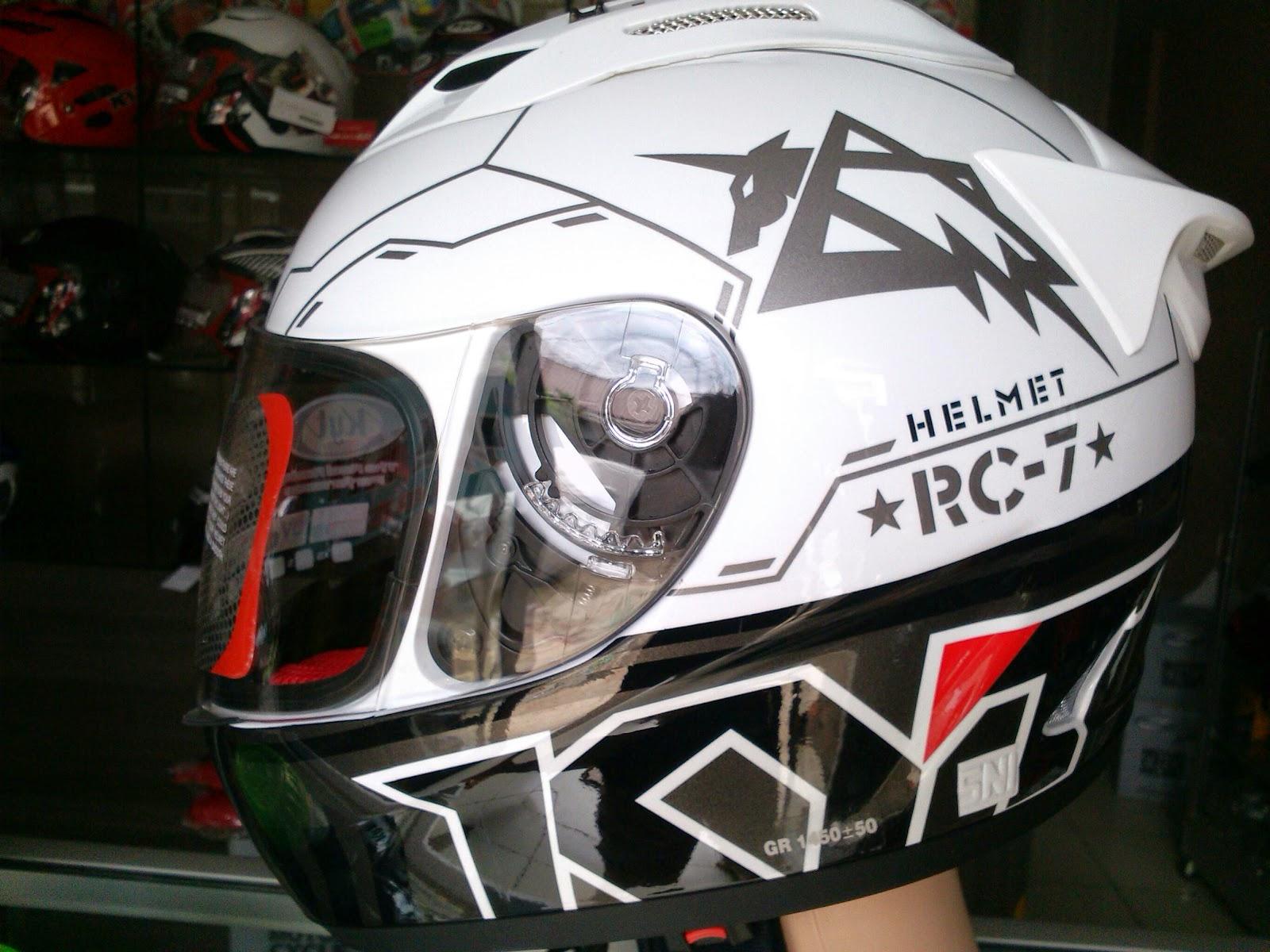 Jual Helm Motor Full Face Fullface KYT RC7 SEVEN #11 Black White Murah - Ice