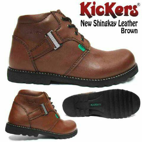 sepatu boot kickers new shingkay leather brown