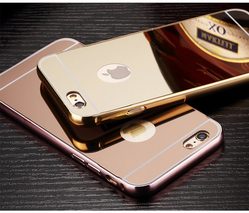 Sliding Gold Source ALUMINUM BUMPER CHROME MIRROR THIN COVER METAL CASE for APPLE Source Mirror case