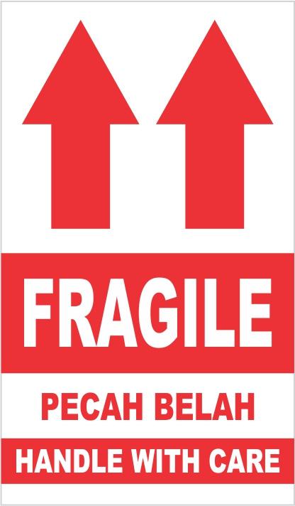 jual b sticker fragile pecah belah handle with care