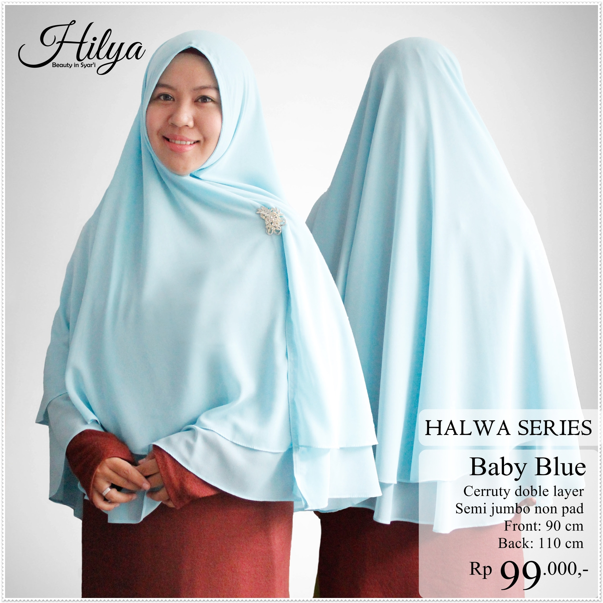 Khimar Non Pet Polos Halwa Series – Baby blue