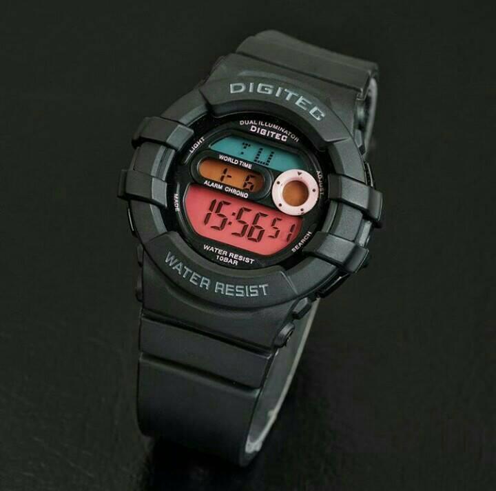 jam tangan digitec original dg 2051 black list pink
