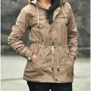 Jual Jaket Parka Cewek Wanita Premium Warna Abu Abu Bahan