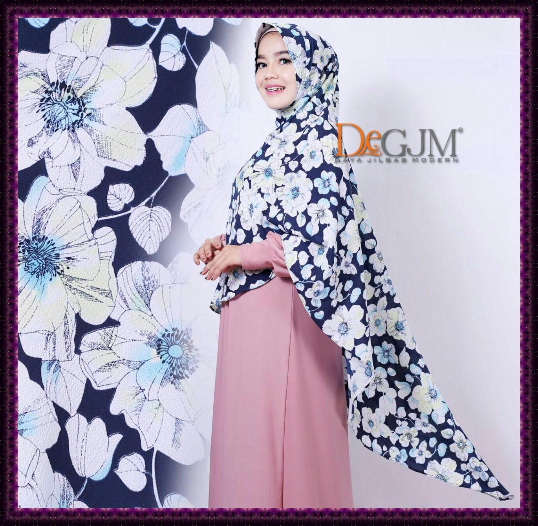 Jilbab Khimar Cantik Motif Terbaru Bunga Kemuning deGJM Hijab