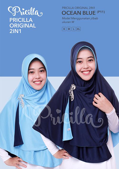 Pricilla – Ocean Blue XL (P11) Jilbab Bolak Balik