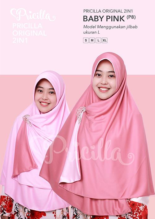Pricilla – Baby Pink XL (P8) Jilbab Bolak Balik