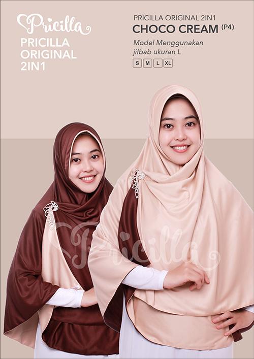 Pricilla – Choco Cream XL (P4) Jilbab Bolak Balik