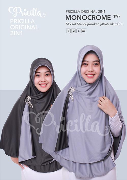 Pricilla – Monocrome XL (P9) Jilbab Bolak Balik