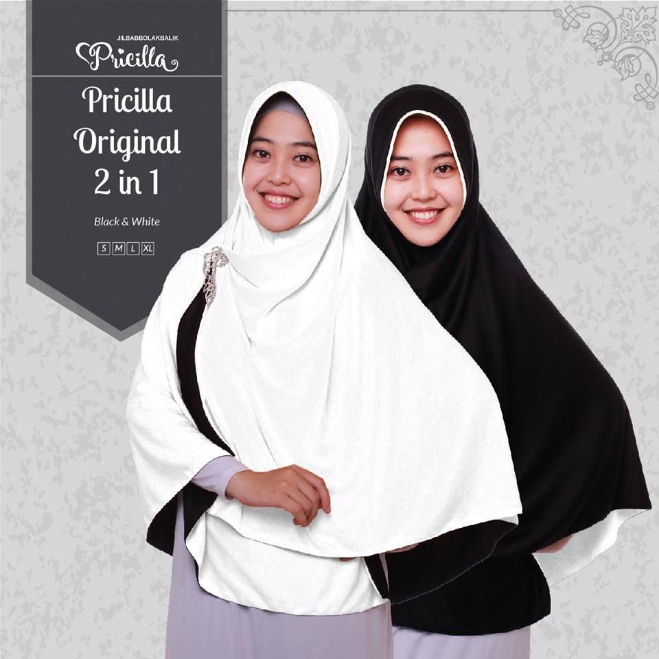 Pricilla – Black White XL (P15) Jilbab Bolak Balik