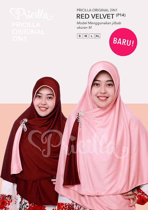 Pricilla – Red Velvet XL (P14) Jilbab Bolak Balik
