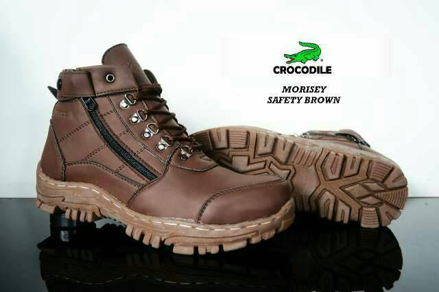 sepatu boot safety crocodile morisey brown