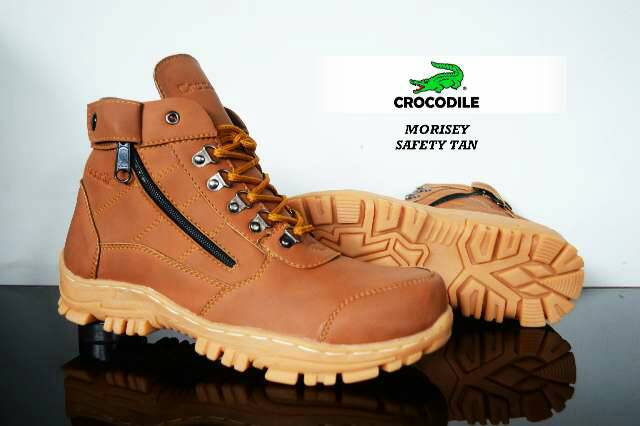 sepatu boot safety crocodile morisey tan