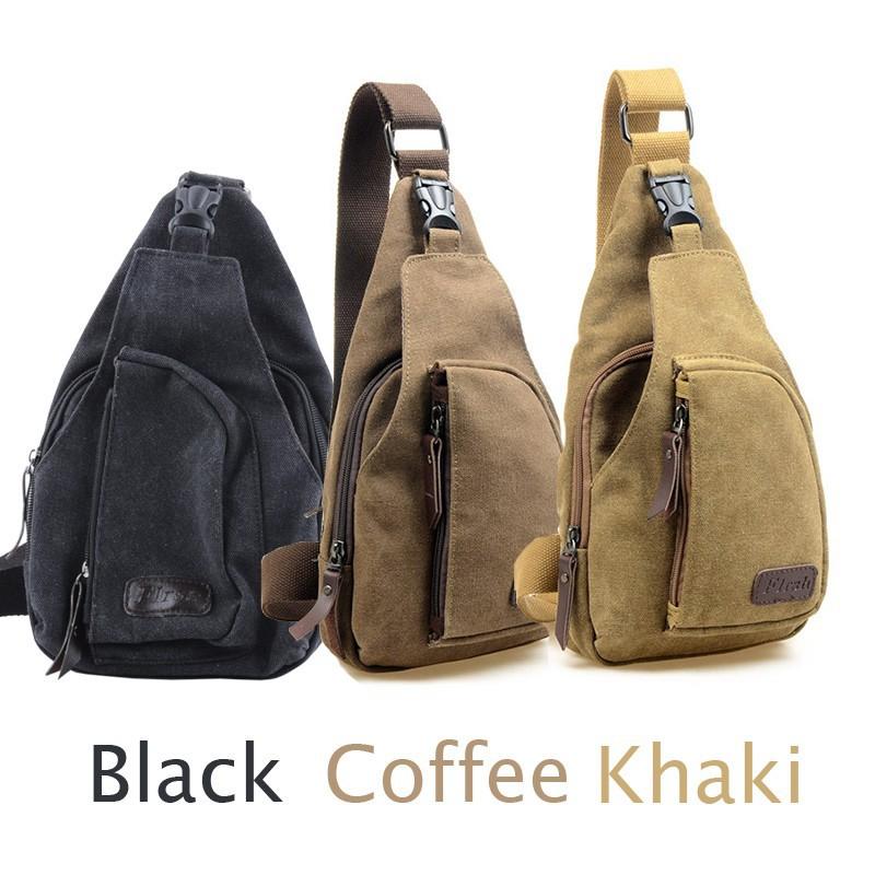 Jual Tas Selempang Slempang Kanvas Canvas Pria Cowok Import / Sling Bag - Khaki - Kepko Shop | Tokopedia