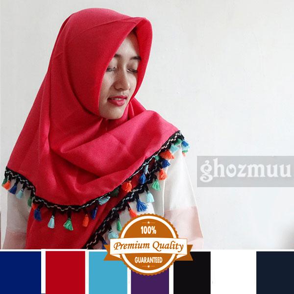 hijab segi empat rumbai rainbow 2 jilbab kerudung pashmina