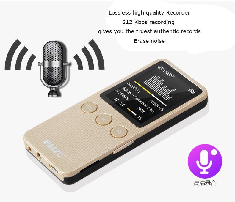 harga Digital Audio Player & Digital Voice Recorder Ruizu X08 8gb Warna Gold Blanja.com