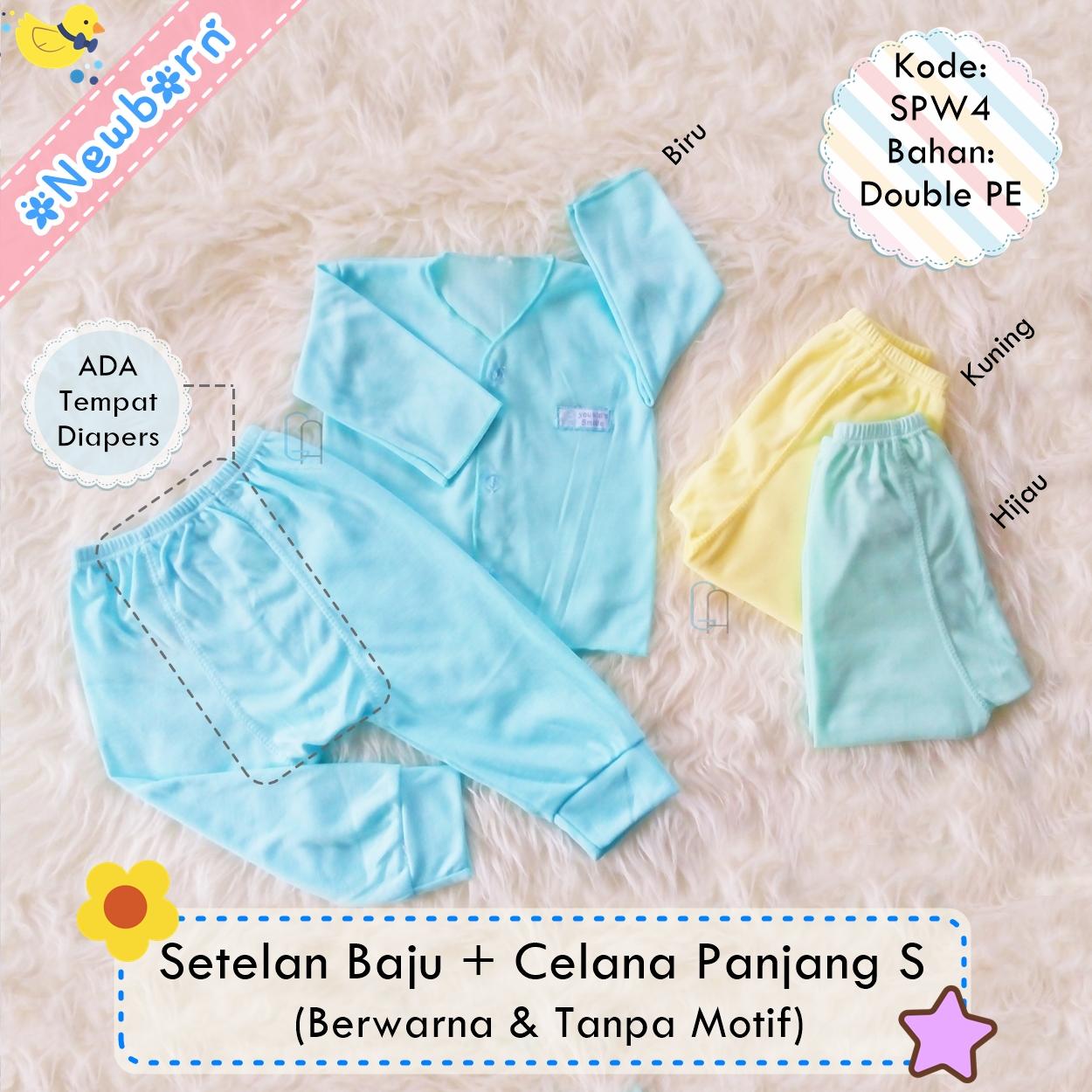 Jual Set 3pcs Setelan Baju Bayi Newborn Celana Panjang Polos Ndal Singlet Bola Terlaris