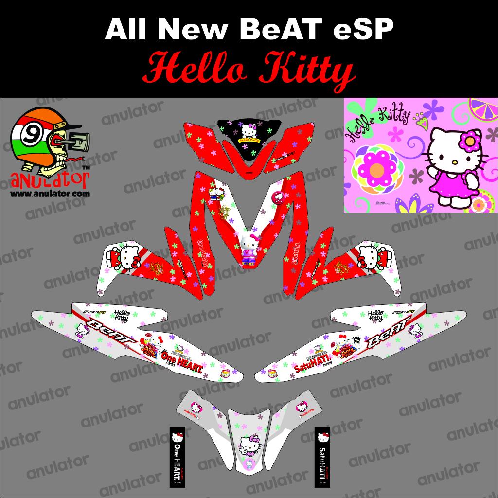 Jual Sticker Striping Motor Stiker Honda Beat Esp Hello Kitty Merah