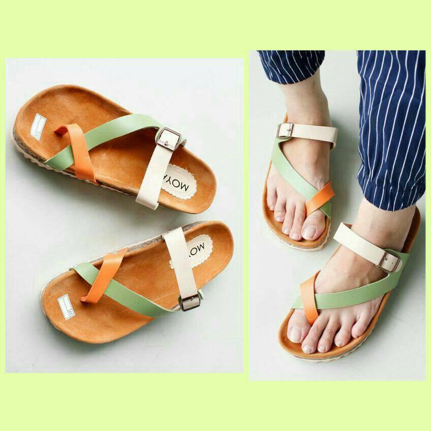 Jual Sepatu Sandal Wanita Replika Carvil Tali Silang Putih Hijau Coklat
