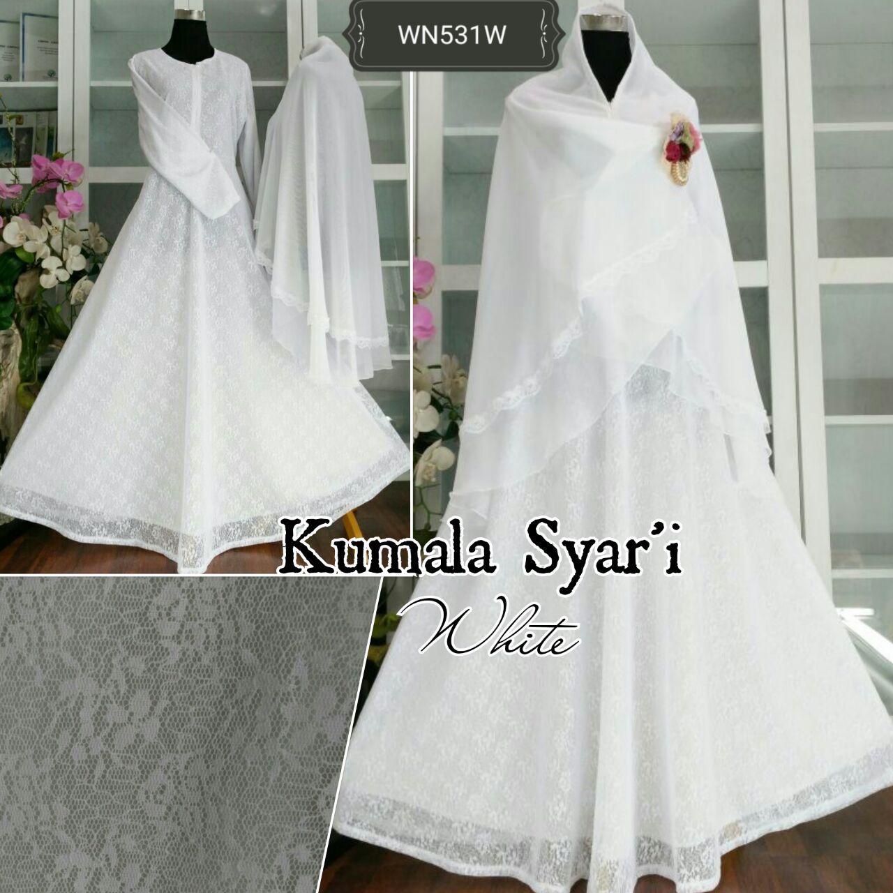 Jual Kumala Syari Bruklat Putih Gamis Putih Umroh Baju
