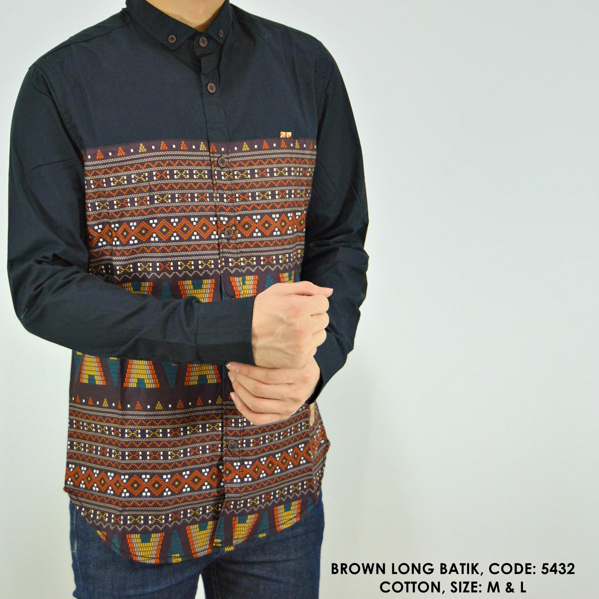 Jual Baju Kemeja Panjang Batik Kombinasi Polos Cowok