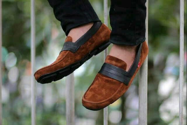 sepatu slop kickers senja brown suede