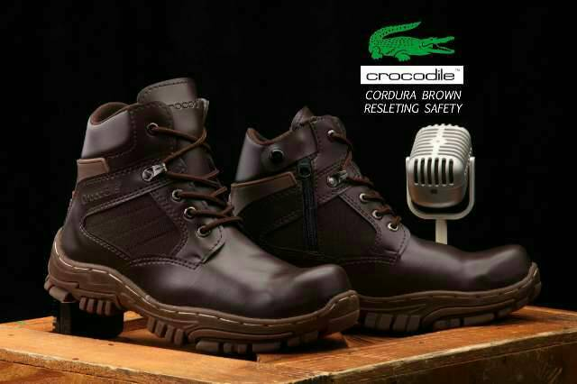 sepatu boot crocodile cordura safety resleting brown