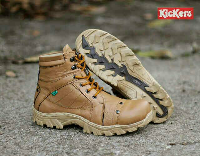 sepatu boot safety kickers delta rock tan kulit