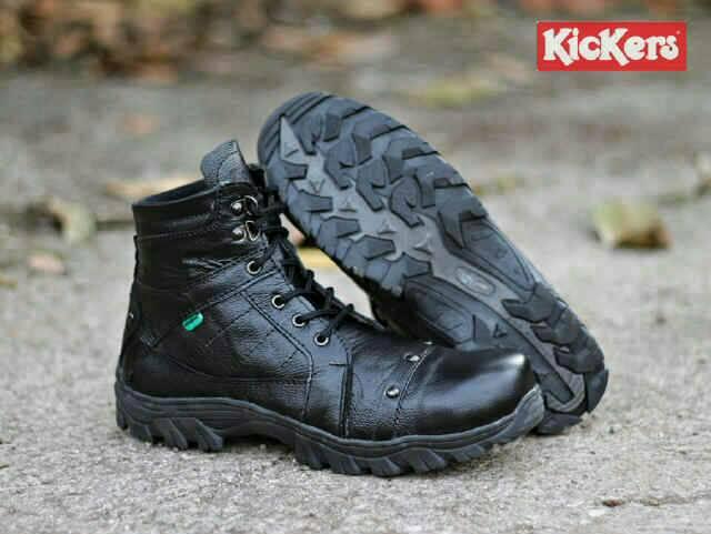 sepatu boot safety kickers delta rock hitam kulit