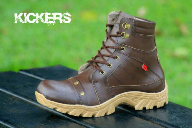 sepatu boot safety kickers delta rock coklat kulit