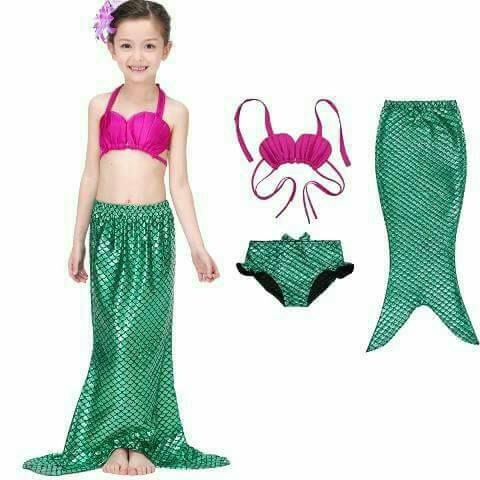 0603-SW-806 SWIMSUIT 3IN1 MERMAID PINK GREEN
