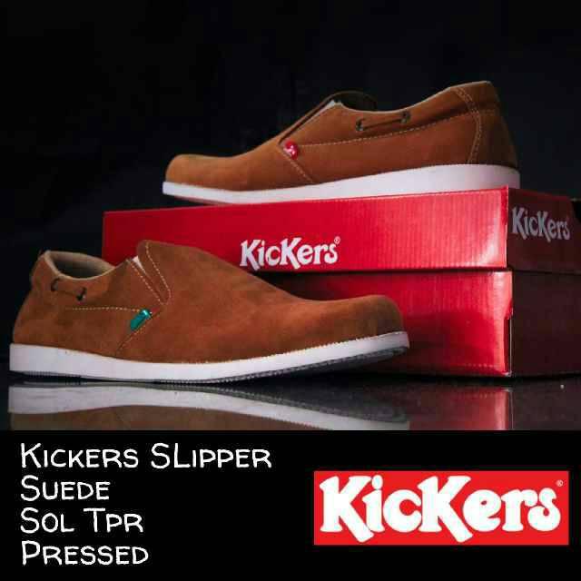 sepatu kickers slipper suede tan