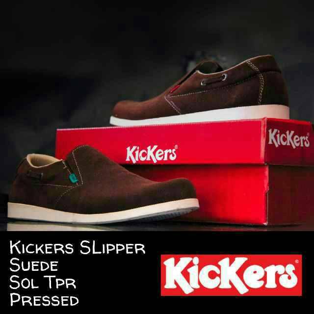 sepatu kickers slipper suede brown