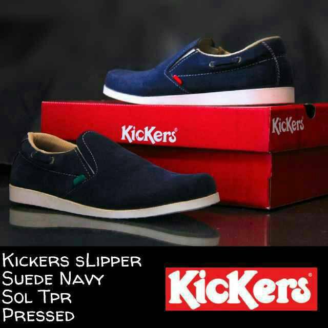 sepatu kickers slipper suede navy