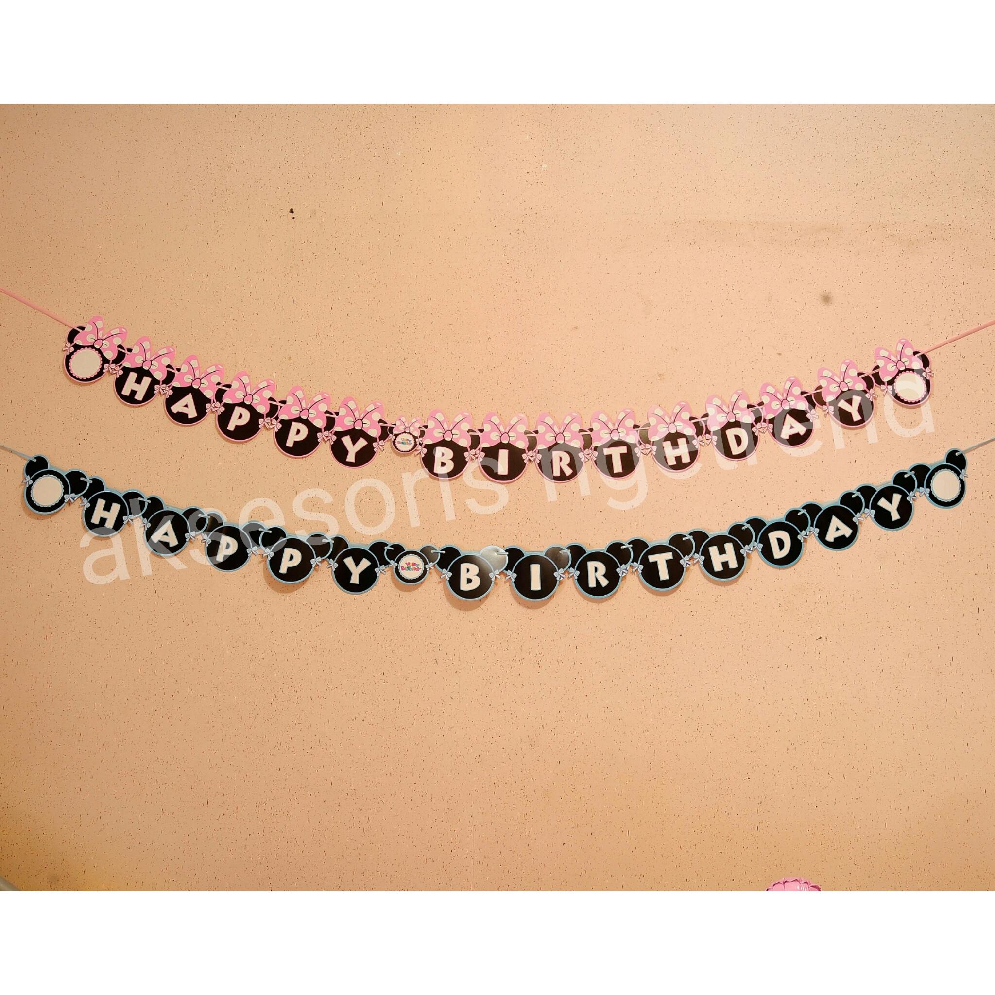 Jual Birthday Flag Mickey Minnie Dekorasi Pesta Ulang Tahun Balon Huruf Pink Aksesoris Ngetrend Tokopedia
