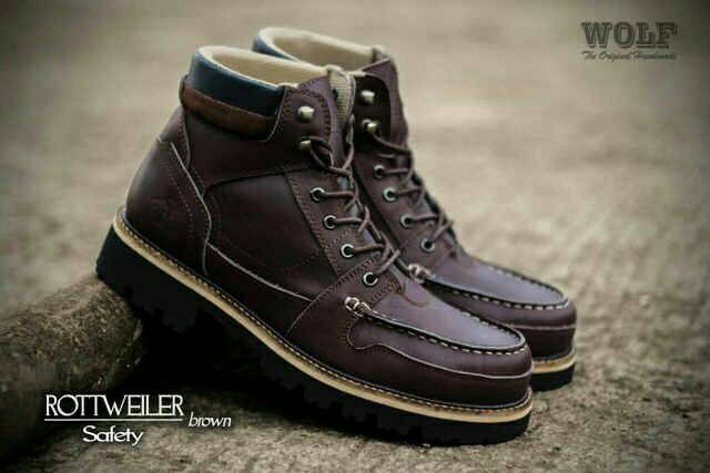 sepatu boot safety wolf rottweiler brown original