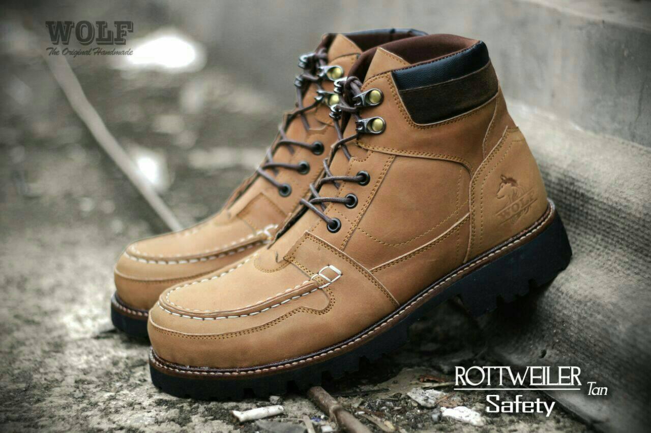 sepatu boot safety wolf rottweiler tan original