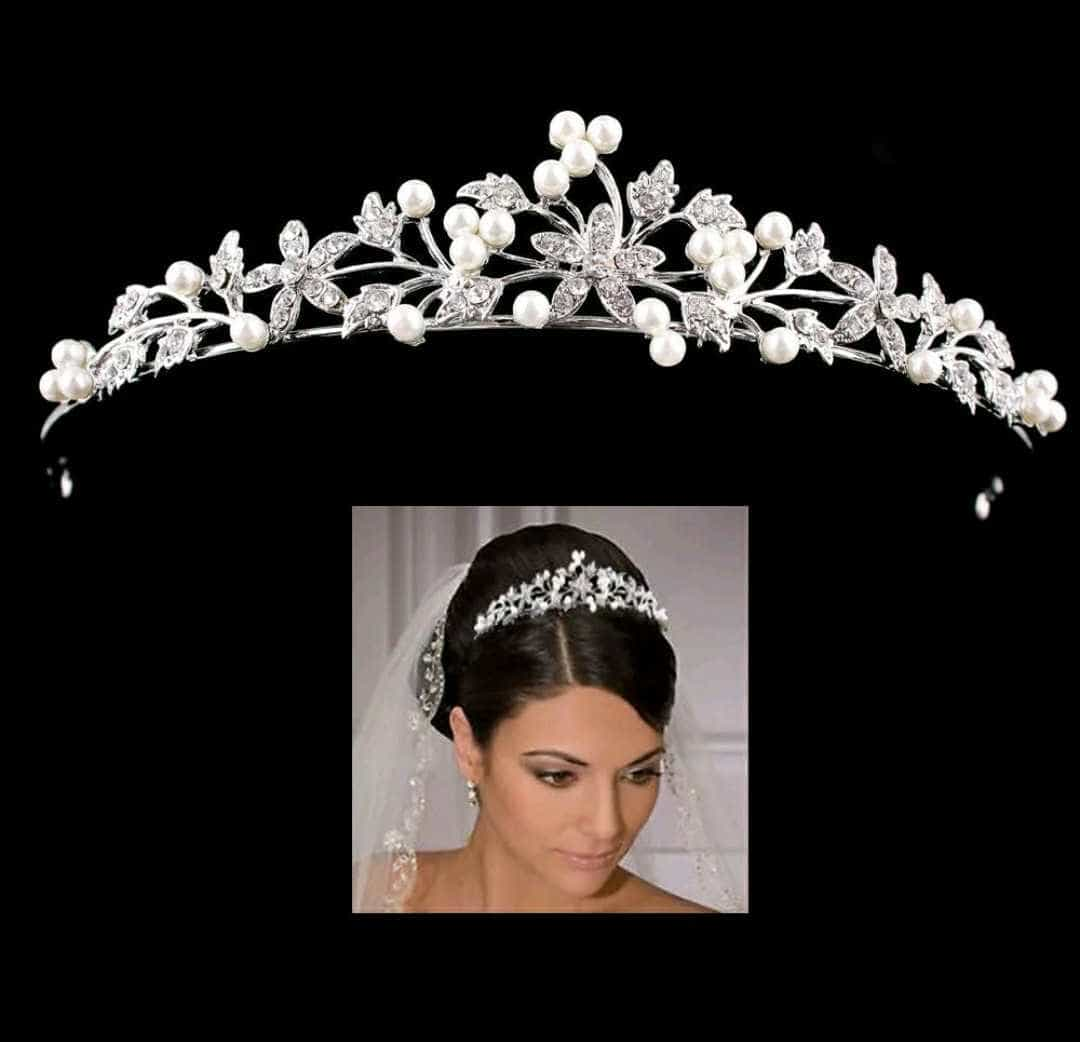Bride Tiara Crown Mahkota Wedding Pearl Hairband Headband Hairpin thumbnail