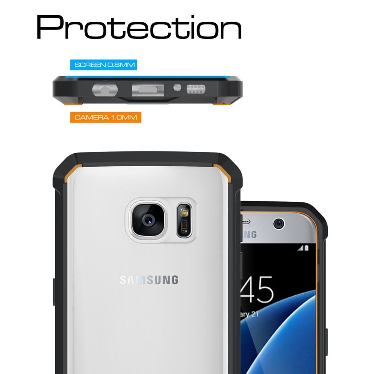 Samsung Galaxy S7 Flat Clear Back  Panel TPU Air Cushion Hybrid Case