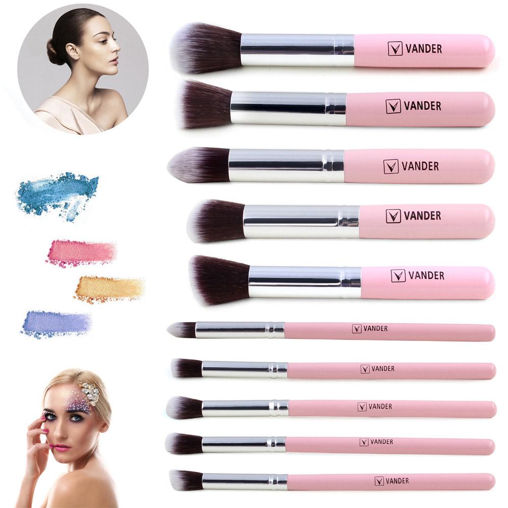 Jual Produk Beautystuffinside Online Termurah Cosmetic Make Up Brush 11 Set With Pouch Kuas Vander 10 Pcs Foundation Blending Pink
