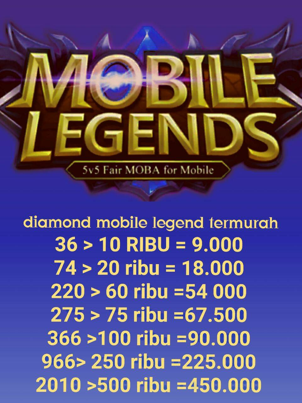 Jual Diamond Mobile Legends For Ios Dan Android 2010 Topup 220 Diamonds Legend Termurah Yd Top Up Tokopedia