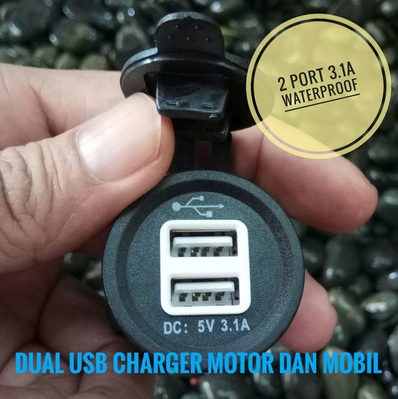 Jual Dual Usb Charger Motor Mobil Waterproof 31a Cocok Buat Nmax Hp Aerox Dll Tukura Tokopedia