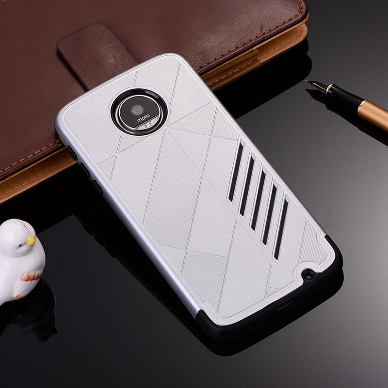 Motorola MOTO Z Play Shark Stripe Elegant Dual Layer TPU Armor Case