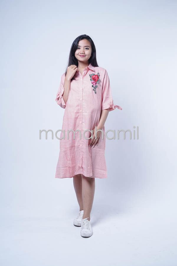 Baju Hamil Daster Hamil Bunga Rose Kotak Yoona Dress DRO 850