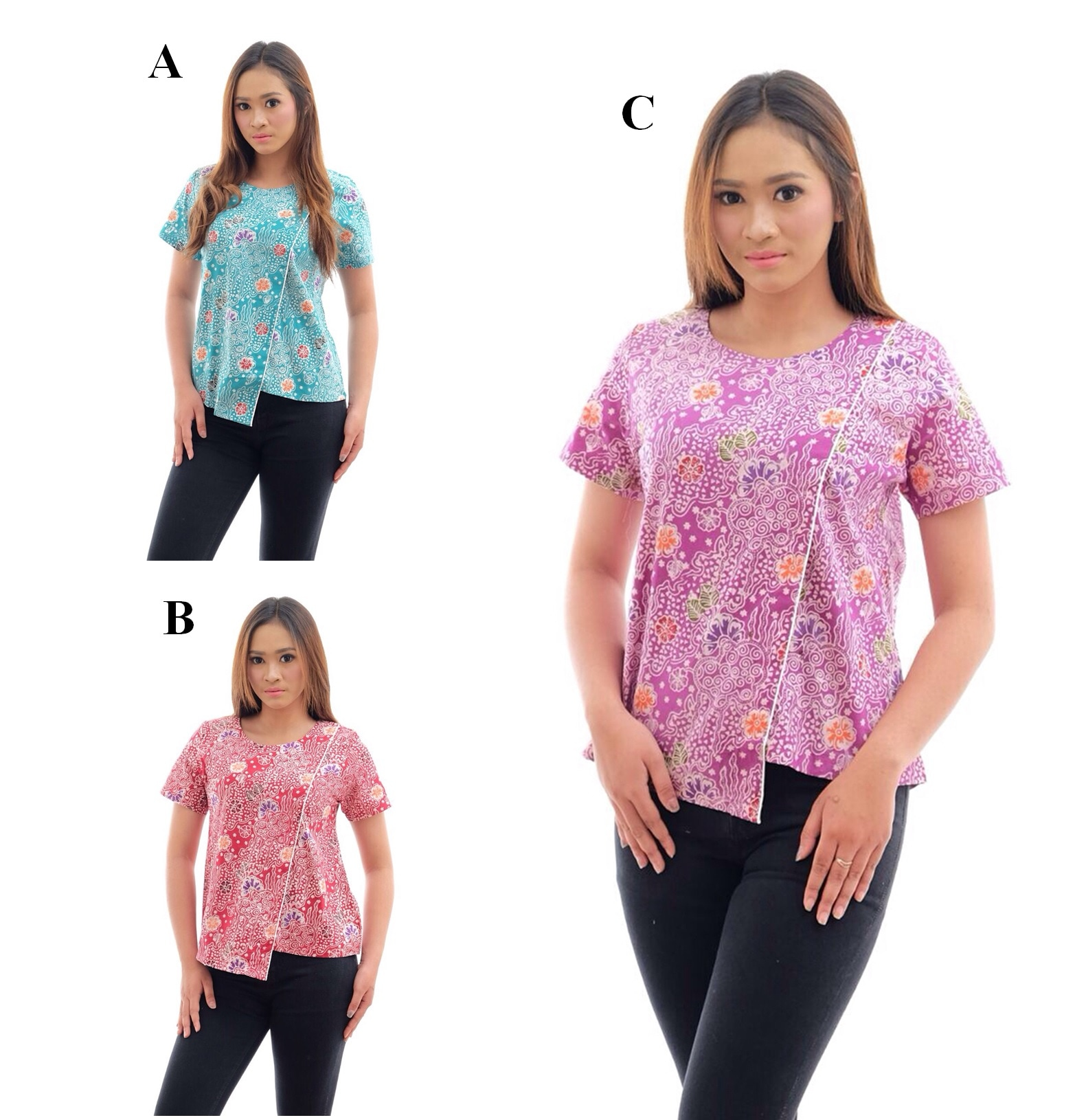 AKT0149 Atasan Batik Cap Colet Baju Seragam Wanita Murah Kemeja Kerja bb3ec5c0c0