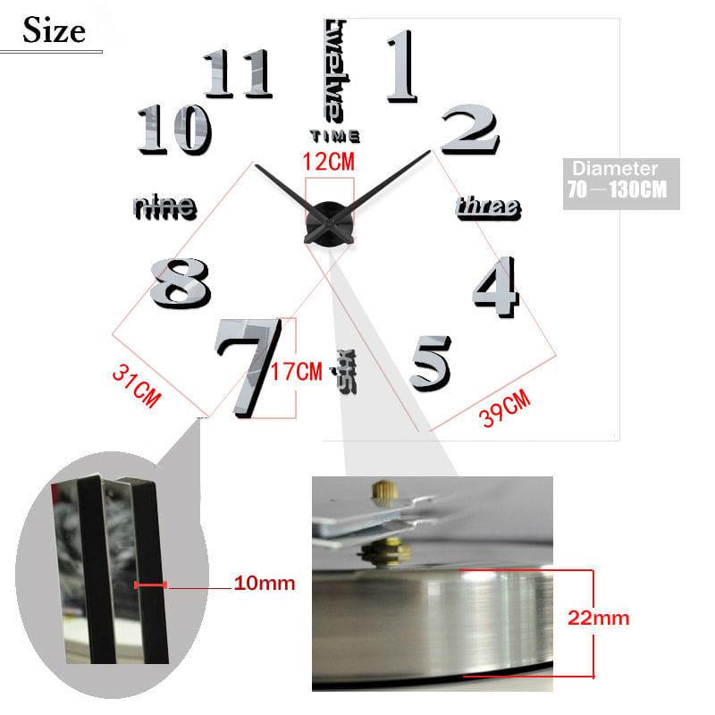 ... Jam Dinding 3d Unik Besar Dan Minimalis - Silver - Blanja.com ... 10234ff293