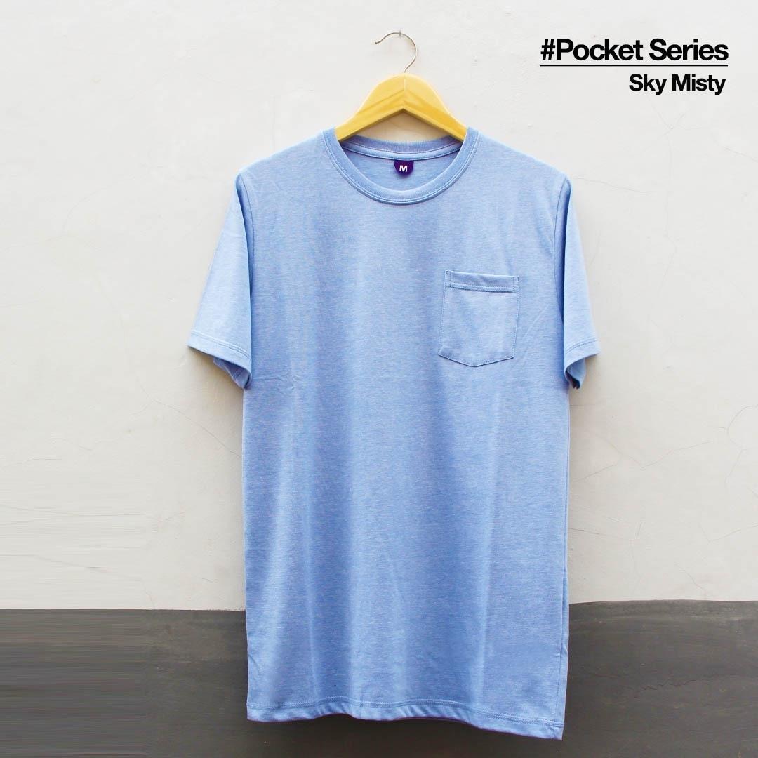 Jual Kaos Polos Tshirt Pocket Sky Misty Black