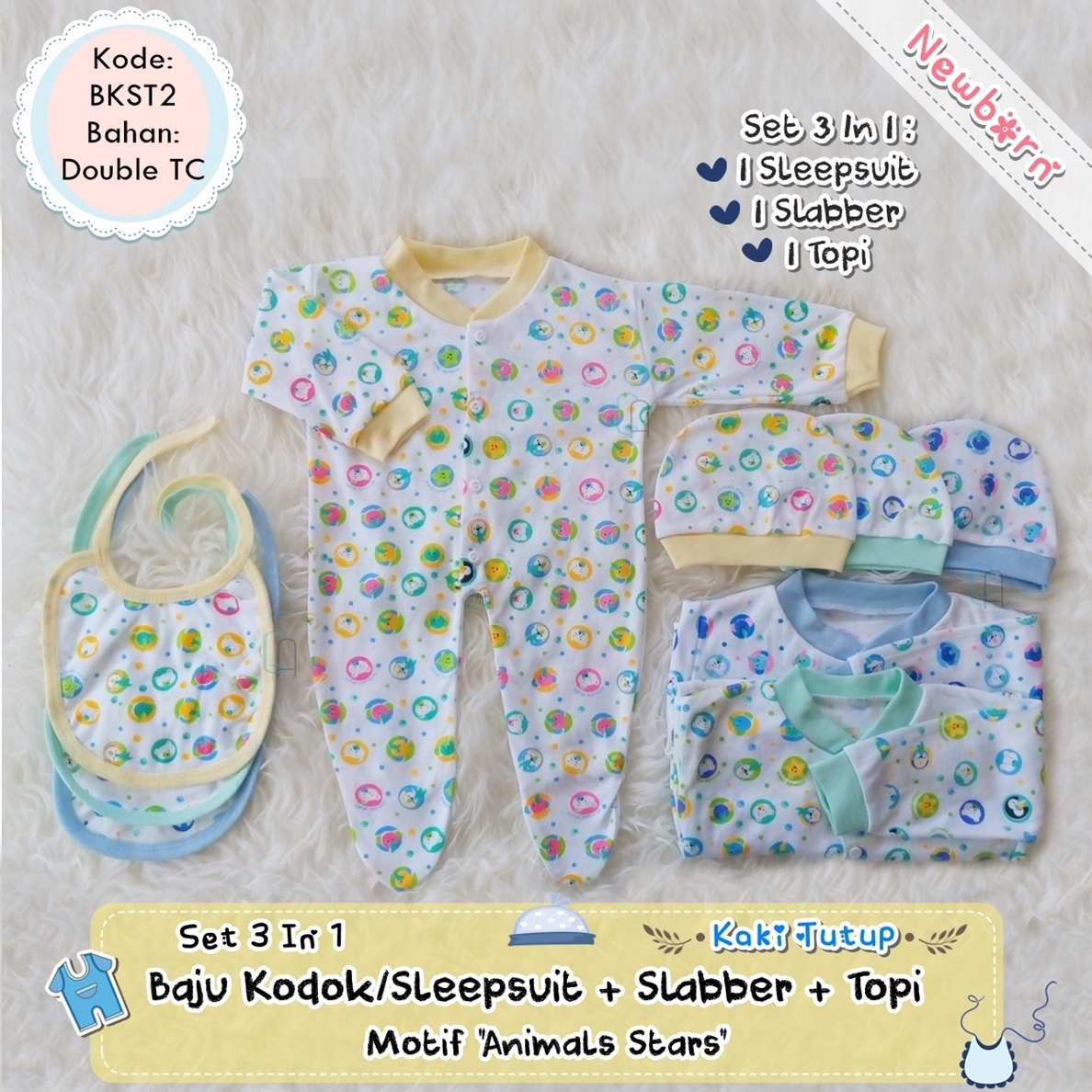 Jual Set 3pcs Setelan Baju Bayi Newborn Celana Panjang Tutup Polos Warna Tanpa Tempat Diapers Kodok Sleepsuit Kaki Slabber Topi Kupluk