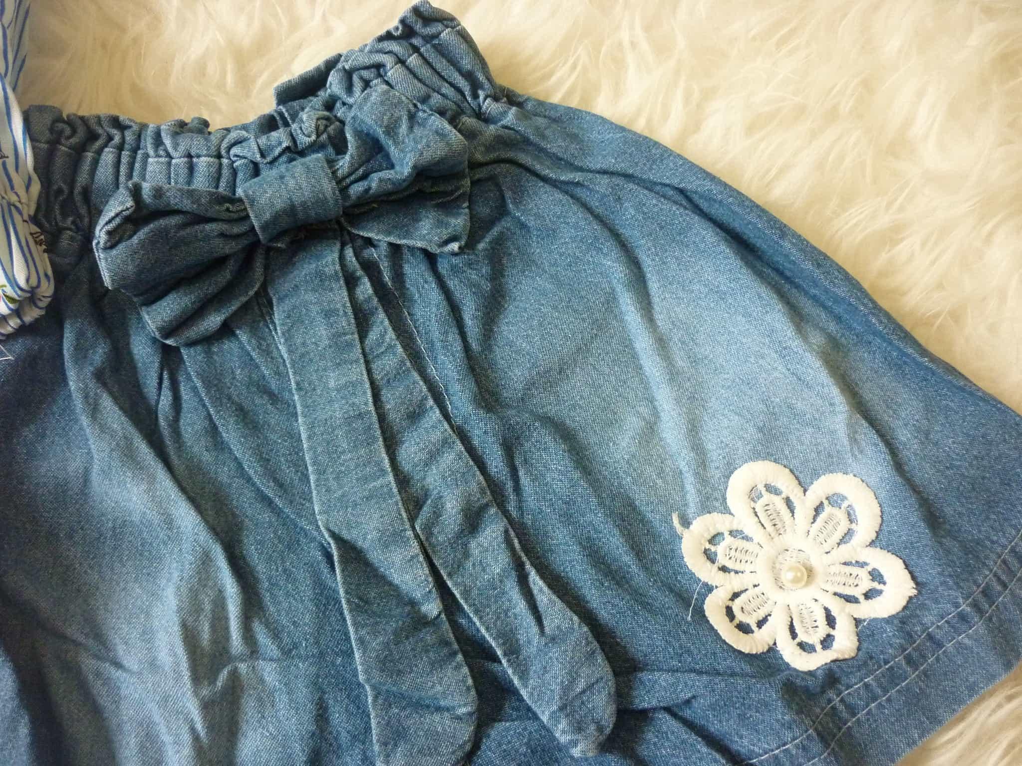 Jual Baju Setelan Anak Perempuan Kemeja Denim Jeans Owl Flower Import