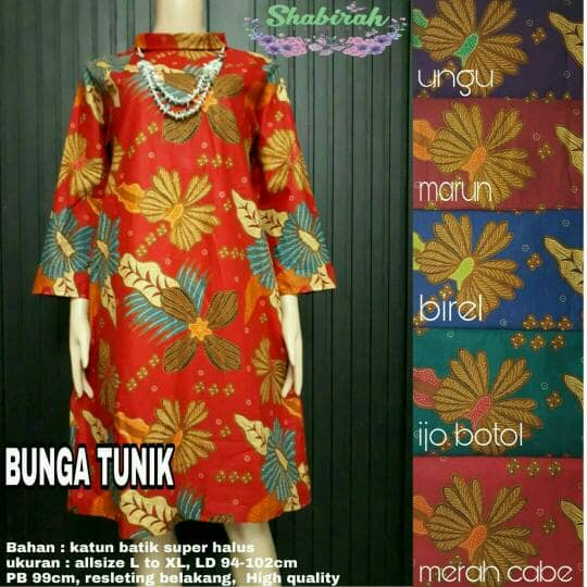 MS ATASAN WANITA BUNGA2 TUNIK KERJA batik SOLOcouplekebayakutubaru)
